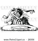 Clipart of a Retro Jester Carrying a Fish on a Tray by Prawny Vintage