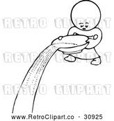 Clipart of a Retro Kid Character Pouring Water from Bowl by Prawny Vintage