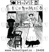 Clipart of a Retro Maid Serving a Woman at Home Economics by Prawny Vintage