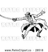 Clipart of a Retro Man Sword Fighting by Prawny Vintage