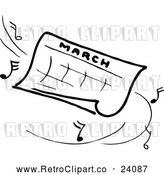 Clipart of a Retro March Calendar with Music Notes by Prawny Vintage