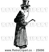 Clipart of a Retro Posh Man Carrying a Cane by Prawny Vintage