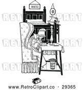 Clipart of a Retro Woman Writing Letter in Bedroom by Prawny Vintage