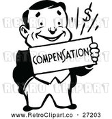 Clipart of a Smiling Retro Business Man Holding a Compensation Sign by Prawny Vintage