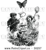Clipart of Retro Kids Chasing Butterflies with Nets by Prawny Vintage