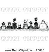 Clipart of Retro Men Seated Side by Side by Prawny Vintage