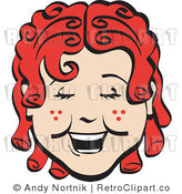 Curly Red Haired Girl Retro Royalty Free Vector Clipart by Andy Nortnik