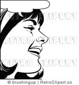 Retro Black and White Pop Art Laughing Woman Royalty Free Vector Clipart by Brushingup