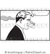 Retro Black and White Pop Art Man Smoking a Tobacco Pipe Royalty Free Vector Clipart by Brushingup
