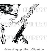 Retro Black and White Pop Art Man with a Cigarette and Pistol Royalty Free Vector Clipart by Brushingup
