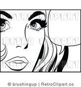 Retro Black and White Pop Art Talking Woman Royalty Free Vector Clipart by Brushingup