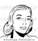 Retro Black and White Pop Art Woman Smiling Royalty Free Vector Clipart by Brushingup