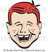 Retro Laughing Redhead Boy Royalty Free Vector Clipart by Andy Nortnik