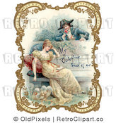 Retro Royalty Free Victorian Couple in Garden Vector Clipart by OldPixels