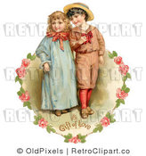 Retro Royalty Free Victorian Strolling Couple Vector Clipart by OldPixels