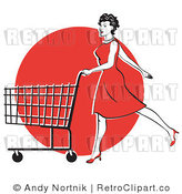 Retro Vector Clip Art of a Lady Shopping in a Red Dress by Andy Nortnik