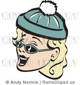 Retro Vector Clip Art of a Winter Woman in Shades and a Cap by Andy Nortnik