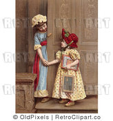 Retro Vintage Sisters at a Doorway, Circa 1880 Royalty Free Clipart by OldPixels