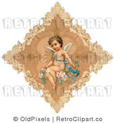 Retro Vintage Valentine of a Cute Cupid on a Diamond Royalty Free Clipart by OldPixels