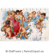 Retro Vintage Valentine of Cherubs in Heaven, Circa 1909 Royalty Free Clipart by OldPixels
