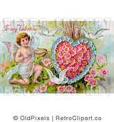 Retro Vintage Valentine of Cupid Aiming an Arrow at a Heart Circa 1910 Royalty Free Clipart by OldPixels