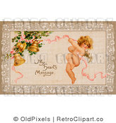 Retro Vintage Valentine of Cupid and My Heart's Message Circa 1910 Royalty Free Clipart by OldPixels
