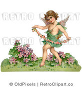 Retro Vintage Valentine of Cupid with a Garland Royalty Free Clipart by OldPixels