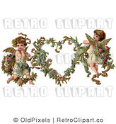 Retro Vintage Valentine of Two Cupids and a Heart Royalty Free Clipart by OldPixels