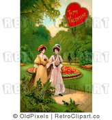 Retro Vintage Valentine of Two Ladies Strolling Through a Garden Royalty Free Clipart by OldPixels