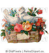 Retro Vintage Valentine of Two White Doves Nesting in a Basket of Flowers, Circa 1890 Royalty Free Clipart by OldPixels