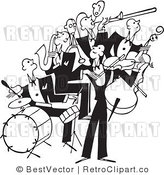 Royalty Free Black and White Retro Vector Clip Art of a Band by BestVector