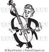 Royalty Free Black and White Retro Vector Clip Art of a Bass Player by BestVector
