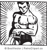 Royalty Free Black and White Retro Vector Clip Art of a Bodybuilder by BestVector