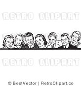Royalty Free Black and White Retro Vector Clip Art of a Border of Business People by BestVector