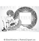 Royalty Free Black and White Retro Vector Clip Art of a Burlesque Women and Ornate Frame by BestVector