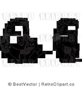 Royalty Free Black and White Retro Vector Clip Art of a Collage: Man and Woman Talking on Phones by BestVector