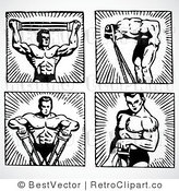 Royalty Free Black and White Retro Vector Clip Art of a Collage of Body Builders by BestVector