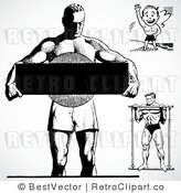 Royalty Free Black and White Retro Vector Clip Art of a Collage of Bodybuilders by BestVector