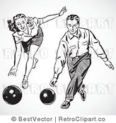 Royalty Free Black and White Retro Vector Clip Art of a Collage of Bowlers by BestVector