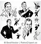 Royalty Free Black and White Retro Vector Clip Art of a Collage of Business Men by BestVector
