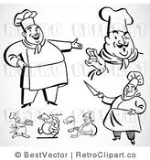 Royalty Free Black and White Retro Vector Clip Art of a Collage of Chefs by BestVector