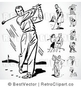 Royalty Free Black and White Retro Vector Clip Art of a Collage of Golfers by BestVector