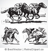 Horse Racing Clip Art Black And White