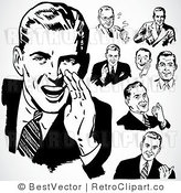 Royalty Free Black and White Retro Vector Clip Art of a Collage of Men by BestVector