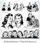 Royalty Free Black and White Retro Vector Clip Art of a Collage: Retro Couples by BestVector