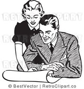 Royalty Free Black and White Retro Vector Clip Art of a Couple Looking over Plans by BestVector