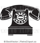 Royalty Free Black and White Retro Vector Clip Art of a Desk Phone by BestVector