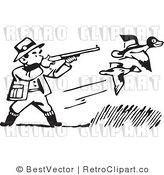 Royalty Free Black and White Retro Vector Clip Art of a Duck Hunter by BestVector