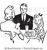 Royalty Free Black and White Retro Vector Clip Art of a Family Eating Together at a Dinner Table by BestVector