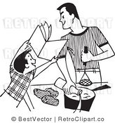 Royalty Free Black and White Retro Vector Clip Art of a Father and Son Baking by BestVector